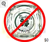 Buckley's;  Another presumed 'reproduction' with a decal applied to the bottom of an old ashtray, painted over, and with felt applied to cover up the paint job. (2019) - Green on white decal imprint Glass Ashtray