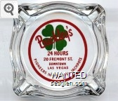 Buckley's, 24 Hours, 20 Fremont St., Downtown Las Vegas, Pioneers in Plentiful Jackpots - Red and green on white imprint Glass Ashtray