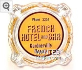 Phone 3251, French Hotel and Bar, Gardnerville Nevada - Black on yellow imprint Glass Ashtray