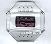 New Frontier, Las Vegas, Nevada - Pink on black imprint Glass Ashtray