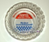 Frontier Casino/Hotel - Las Vegas, The Great American Playground - Red, white and blue imprint Glass Ashtray