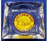 Log Cabin Bar, Las Vegas, Nevada - Red on yellow imprint Glass Ashtray