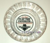 Las Vegas, Play the Favorite… 1-800-634-3101 / (702) 367-2411, Palace Station Hotel - Casino - Red and black imprint Glass Ashtray