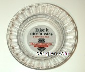 Palace Station, Take it nice 'n easy. 1-800-634-3101 Hotel - Casino - Red and black on white imprint Glass Ashtray
