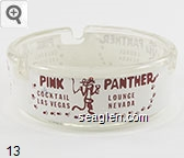 Pink Panther, Cocktail Lounge, Las Vegas, Nevada - Red on white imprint Glass Ashtray