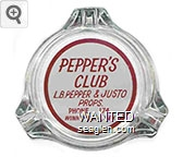 Pepper's Club, L.B. Pepper & Justo Props., Phone 174, Winnemucca, Nev. - Red on white imprint Glass Ashtray