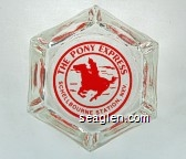 The Pony Express, Schellbourne Station, Nev - Red imprint Glass Ashtray