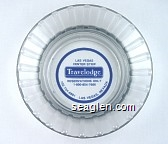 Las Vegas Center Strip, Travelodge, Reservations Only 1-800-854-7666, 702-734-6801 Las Vegas Nevada - Blue imprint Glass Ashtray
