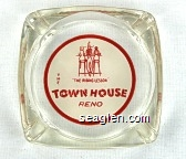 ''The Riding Lesson'', The Town House Reno - Red on white imprint Glass Ashtray